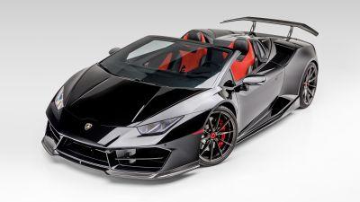 Lamborghini Huracan Spyder, Vorsteiner, White background, Black cars, 2020, 5K