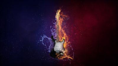 Electric Guitar, Instrument, Dark background, Fire, Water, Purple, Violet, 5K