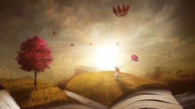 Book, Purple Tree, Autumn, Girl, Dream World, Sunlight, 5K