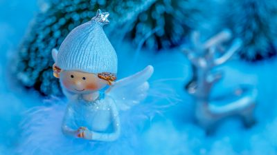 Blue Angel, Christmas decoration, Wings, Cap, Cute, Blue background