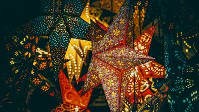 Christmas lights, Stars, Christmas decoration, Dark background, Beautiful, 5K
