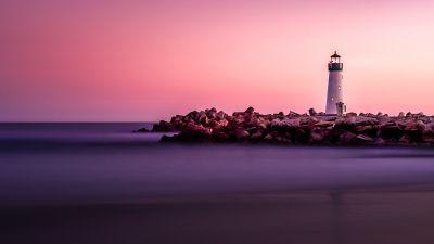 Lighthouse, Pink Hour, White, Beacon, Purple sky, Rocks, Seashore, Sunset, 5K