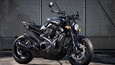 Harley-Davidson, Cafe racer, Race bikes, Black Motorcycle, Fence, 5K