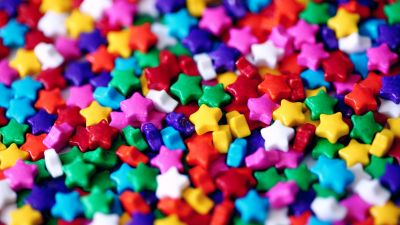Candies, Multicolor, Star Shape, Colorful, Rainbow colors, Sweet, Confectionery, Closeup, 5K