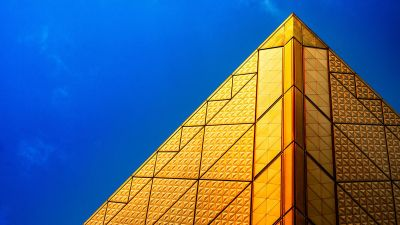 Pyramid Structure, Golden, Blue Sky, Modern architecture, 5K, 8K