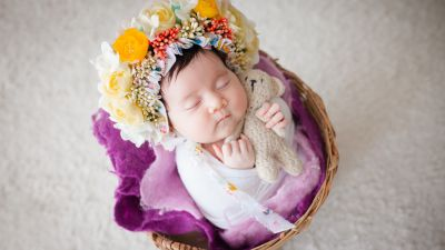 Newborn, Flower Wreath, Sleeping baby, White fur, Basket, Teddy bear, Cute Baby, 5K