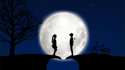 Full moon, Couple, Heart, Blue background, Bicycle, Tree, Cat, Stars, Silhouette