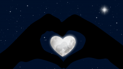 Heart, Stars, Blue background, Hands together, Couple, White heart, Moon, Silhouette