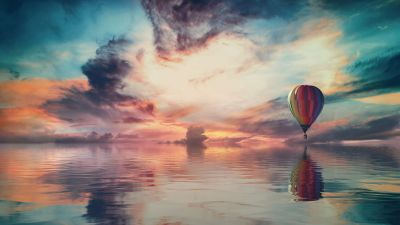 Hot air balloon, Multicolor, Colorful Sky, Water, Reflection, Clouds, Sky view, 5K, 8K