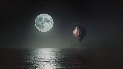 Hot air balloon, Night, Full moon, Dark background, Sea, Stars, 5K, 8K