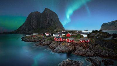 Lofoten islands, Aurora Borealis, Landscape, Night, Stars, Mountain, Blue Sky, 5K, 8K