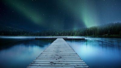 Jetty, Wooden pier, Lake, Aurora Borealis, Clear sky, Trees, Stars, Blue, 5K, 8K