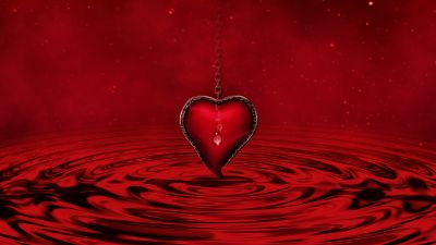 Red heart, Water, Red background, Stars, Waves, Chain, 5K