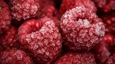 Frozen Raspberries, Red fruits, Closeup, Macro