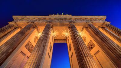 Brandenburg Gate, Berlin, Germany, Low Angle Photography, Lights, Night, Blue Sky, Arch