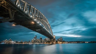 Sydney Harbour Bridge, Milsons Point, Australia, Cityscape, River, Night lights, Blue Sky, 5K