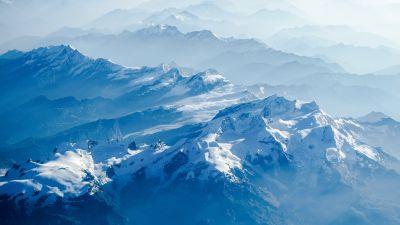 Swiss Alps, Snow covered, Mountains, Glacier, Switzerland, Mountain Peak, Aerial, Fog