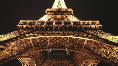Eiffel Tower, Paris, Dark background, Nighttime, Lights, Low Angle Photography, Steel Structure, Iconic, 5K
