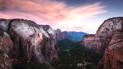 Rock Mountains, River Stream, Valley, Zion National Park, Sunset, Mountain range, 5K, 8K