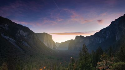 Yosemite Valley, Mountain range, Pine trees, Dawn, Clear Sky, 5K
