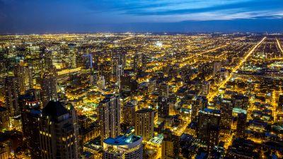 Chicago, Illinois, City Skyline, Night, Cityscape, Blue Sky, Night lights, Buildings, Skyscrapers, 5K