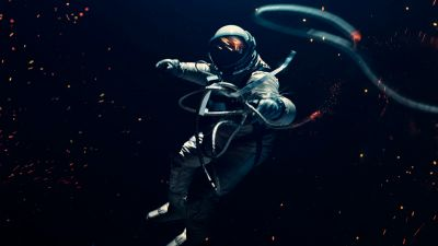 Astronaut, Space suit, Dark background, Lost in Space, Space Adventure