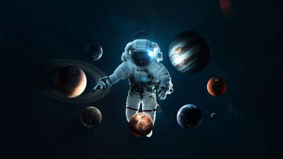 Astronaut, Planetary System, Space suit, Space Travel, Stars, Orbital ring, Solar system, Planets