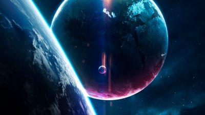 Planets, Earth, Purple, Blue, Stars, Horizon