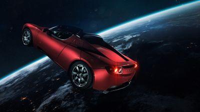 Elon Musk's Tesla Roadster, Tesla in Space, Red cars, Earth, Horizon, Electric Sports cars