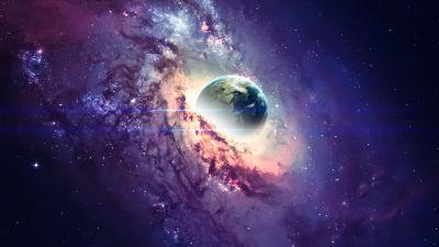 Earth, Nebula, Galaxy, Milky Way, Stars, Purple background, Cosmos, Planet