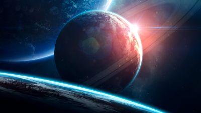 Planets, Orbital ring, Sun, Stars, Galaxy, Blue planets, Horizon