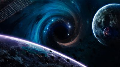 Black hole, Planets, Horizon, Asteroids, Stars, Spirals, Earth, Blue, Purple