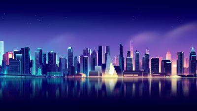 Cityscape, Neon, Skyline, Aesthetic, Reflections, 5K