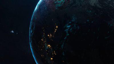 Earthlike Planet, Space ship, Universe, Closeup, Blue