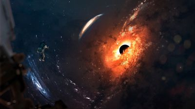 Black hole, Astronaut, Spiral galaxy, Stars, Space exploration, Orange, Space Adventure