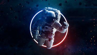 Astronaut, Asteroids, Space suit, Neon light, Space Travel, Space Adventure