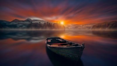 Sunset, Boat, Lake, Reflections, Dawn, Mountains, Fog, Trees, 5K