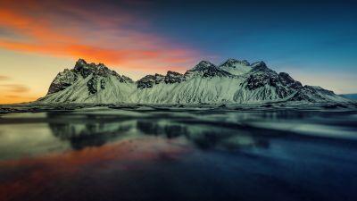 Snow mountains, Sunset, Landscape, Reflection, Lake, Glacier, Scenic, 5K