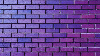 Brick wall, Purple, Violet, Bricks, Bright, Gradients, Aesthetic, 5K