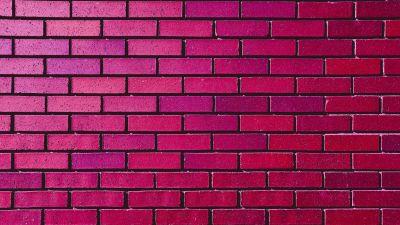 Brick wall, Magenta, Red, Bricks, Bright, Gradients, 5K