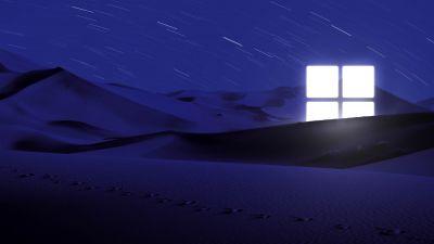 Desert, Night, Blue, Windows logo, Glowing, Star Trails, Illuminated, 5K