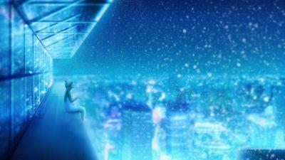 Girl, Dream, Snowfall, Cityscape, Winter, Blue, Atmosphere, Girly backgrounds