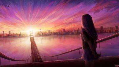 Girl, Dream, Pink, Sunrise, Artwork, Cityscape, Bridge, Illustration Drawing, Girly backgrounds, 5K