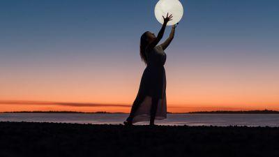 Girl, Woman, Moon, Beach, Sunset