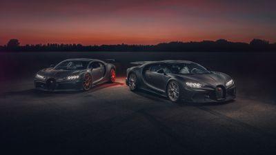 Bugatti Chiron Pur Sport, Bugatti Chiron Super Sport 300+, Night, Sunset, Dark, 2020, 5K, 8K