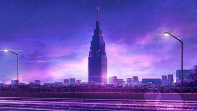 Cityscape, Skyscraper, Evening, Traffic, Purple, Illustration, Aesthetic, 5K