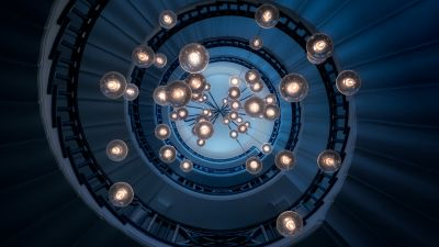 Spiral staircase, Steps, Look up, Pattern, Lights, Interior, Blue, 5K