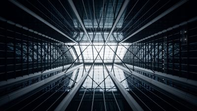 Modern architecture, Skylight, Looking up at Sky, Glass building, Atrium, Symmetrical, 5K, 8K