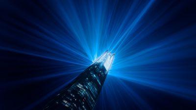 Light beam, Skyscraper, Look up, Modern architecture, Building, Night, Light show, Blue, 5K, 8K