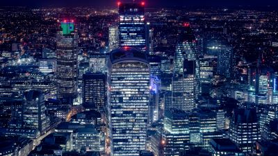 London City, Cityscape, Night lights, Skyscrapers, Tower 42, Gherkin, Heron Tower, Night life, Aerial, 5K